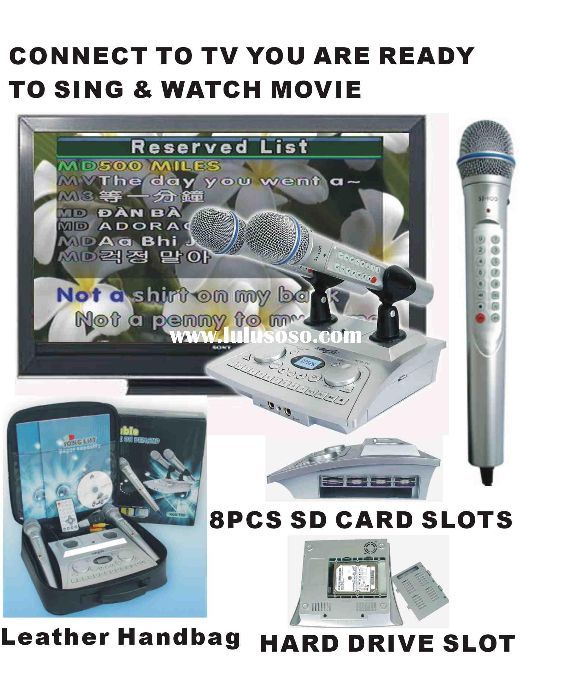Portable karaoke player on demand+ Digit Microphone+8Pcs SD Card Slots+160GB Hard Disk(optional)