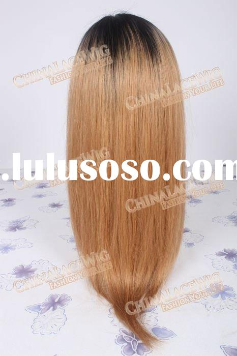 Real human hair fashion two tone #2/10 color full lace wigs
