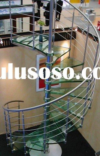 Stainless steel Glass Spiral Stairs