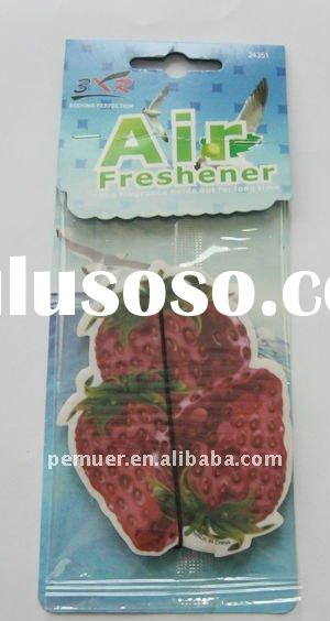 Strawberry scents and shape auto perfume card for promotion air freshener for kitchen