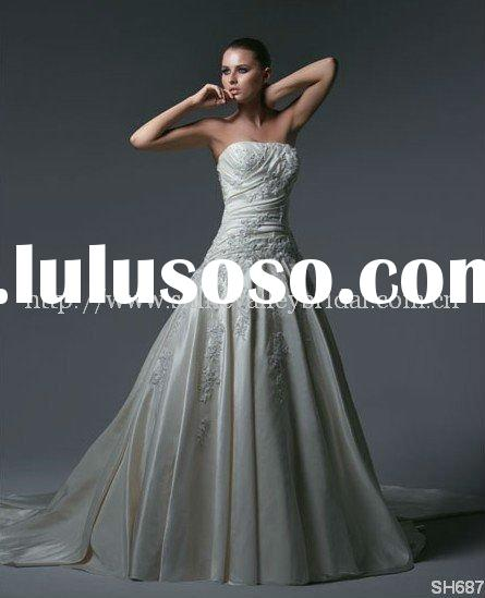 Style SH687 Gorgeous Strapless Satin with Beading Lace Pattern Wedding Dresses