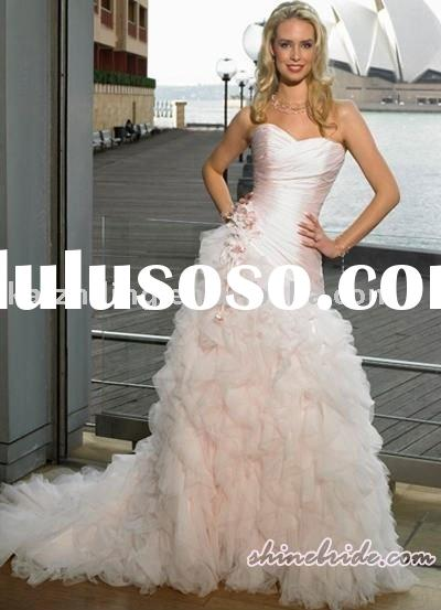 Sweet heart pink mermaid strapless custom made ball 2011 wedding gown