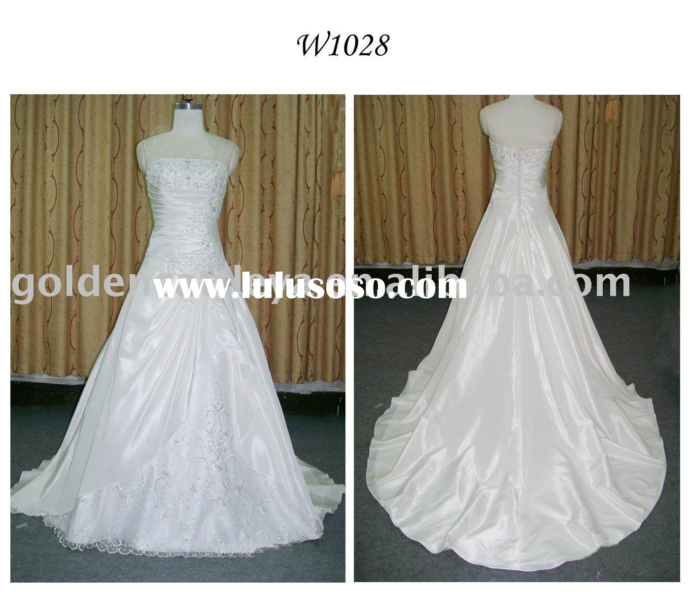 W1028 luxurious strapless embroider & beaded pregnant women dresses