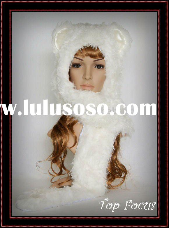 WINTER ANIMAL HATS FOR ADULTS/KIDS WITH LONG SCARF AND MITTEN BLACK WOLF