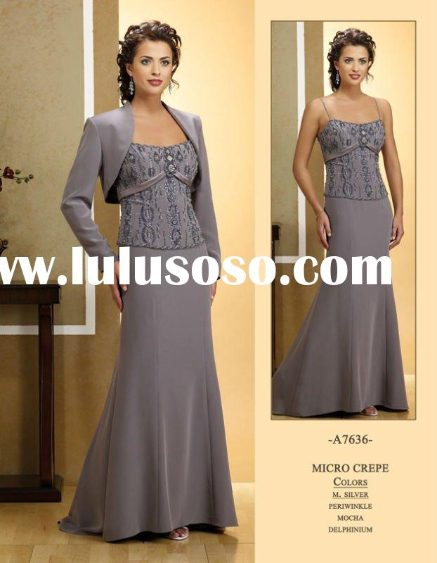 elegant grey with long sleeve jacket mother of the bride evening dresses M39