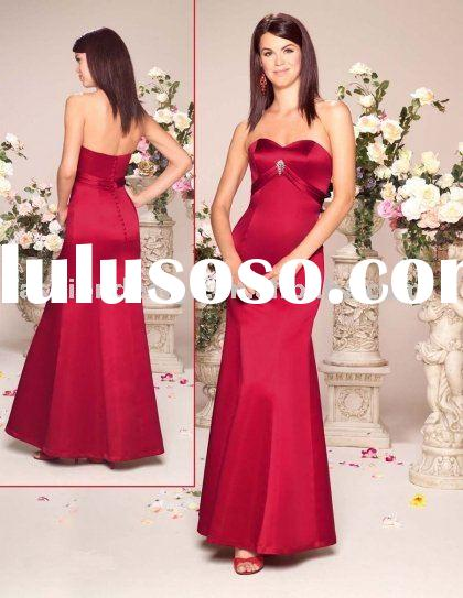 fashion red satin bridesmaid dresses,formal prom gowns,evening dresses BD083