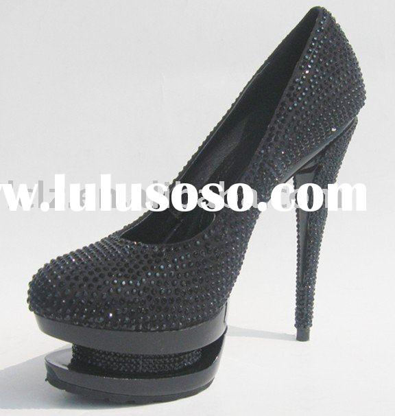 g101 lady high heel black formal dress shoes double platform with beading EU size 35-41