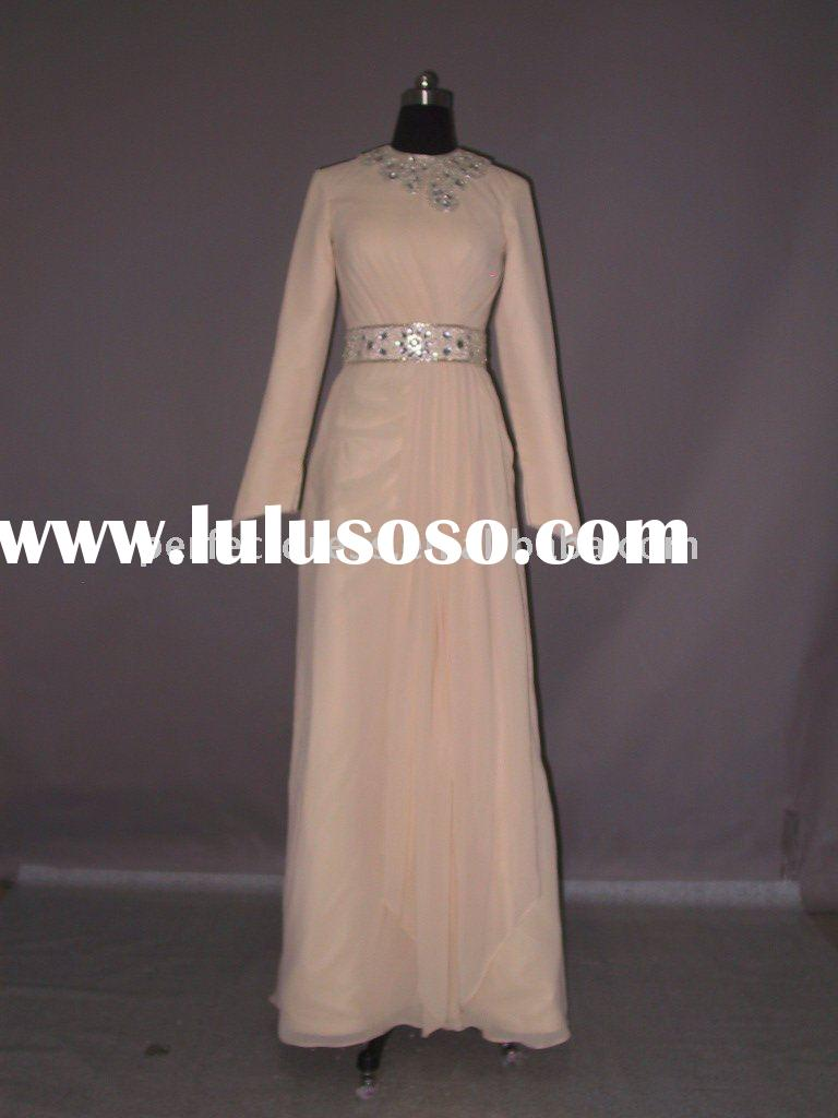 ladies fashion long sleeve arabic evening dress