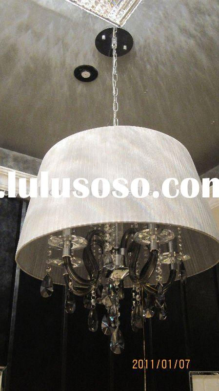 modern white shade crystal ceiling pendant lamp,crystal chandelier ceiling lamp SL-2011