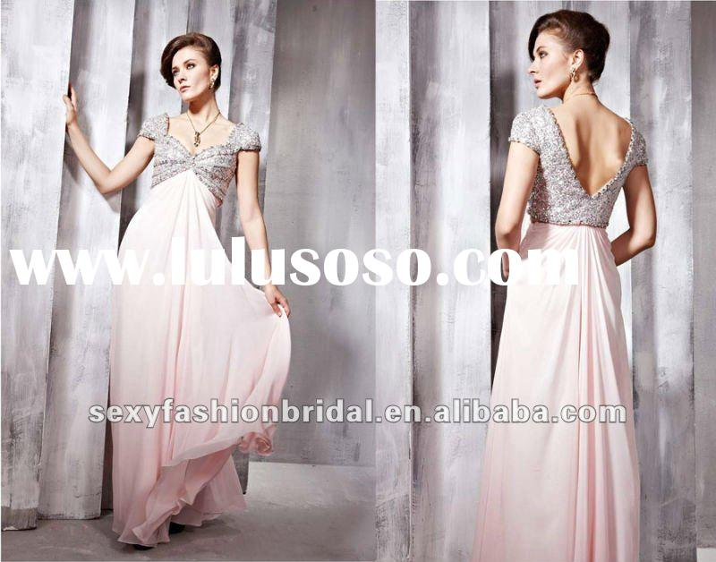 new arrival elegant short sleeves beads sequin accented column women's evening dresses with
