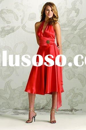 red satin short bridesmaid dresses,formal prom dresses,evening gowns BD095