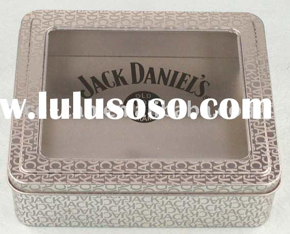 square tin box with PVC window