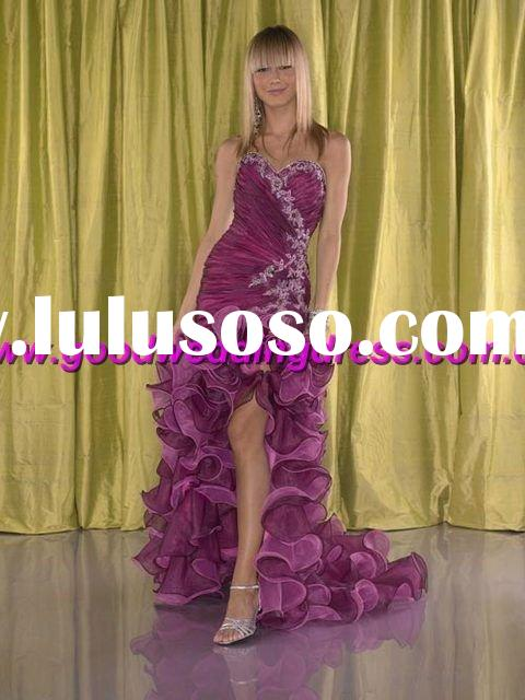 wholesale hot sale organza hand made prom dress/evening gown/front short and long back evening dress