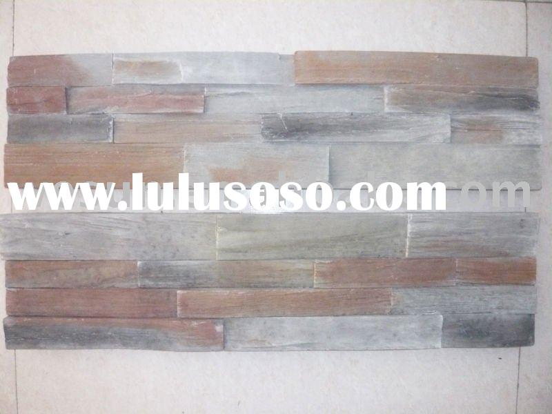 Eco-friendly Artificial Culture Stacked Colorful Ledge Slate Stone Wall Tile-Faux Stone Wall Decorat