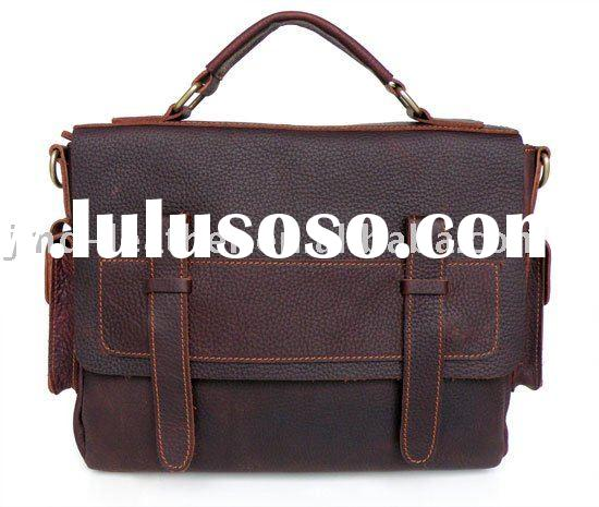 Vintage Leather Style Men Brown Briefcase Messenger Bag