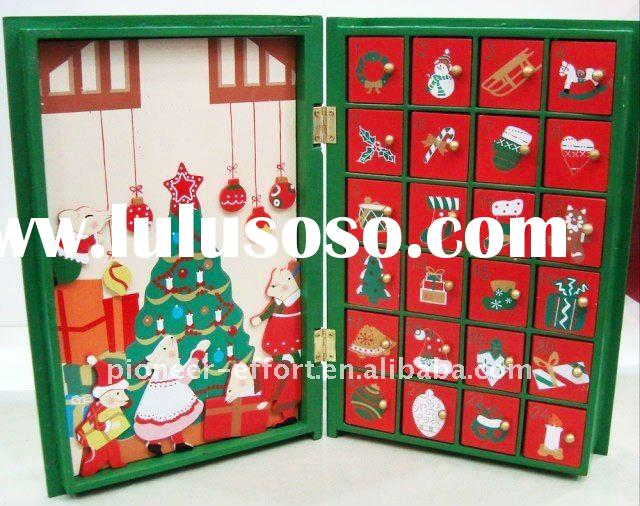 Wooden Christmas advent calendar, book shape with 24 drawers for putting mini gifts, chocolate and c