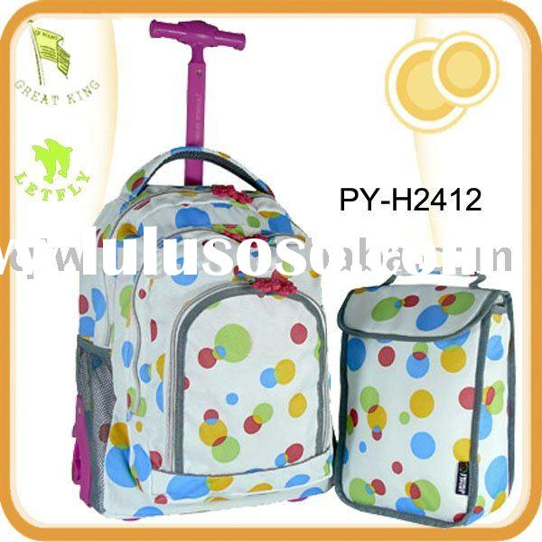 children's sparkling wheel rolling school backpack with lunch bag