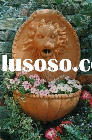 lion head wall fountain outdoor lion water fall