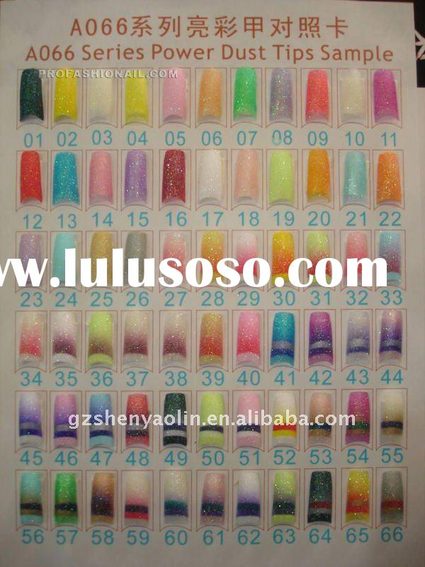 100pcs/set Acrylic Nail Art Tips pre Design Designed Nail Tips 66 colors is available NA816
