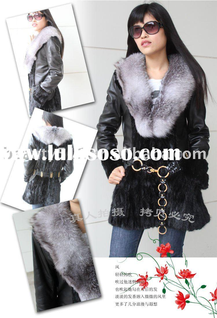 2010 Luxury fashion mink fur coat with blue fox collar JL006