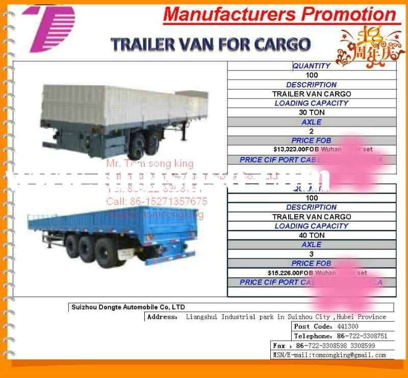 2011 DTA 2/3 Axle box semi trailer,semi-trailer van for cargo van transportation semi trailer, cargo