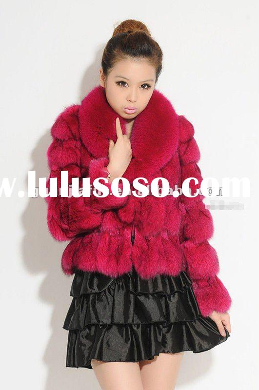 2011 new fashion Lady's fox fur coat with fox fur collar