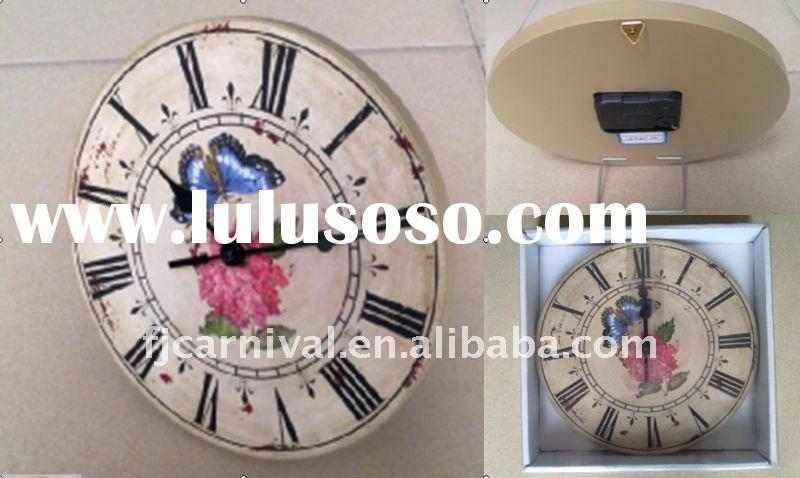 2011 wholesale cheap Vintage Old Art Wooden Wall Clock
