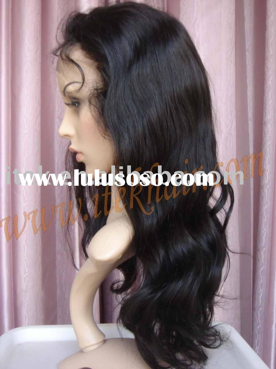 "20""100% indian natural wave remy hair full lace wig,accept paypal!t"