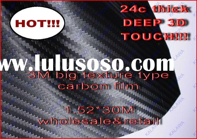 "3D Carbon Fiber Vinyl Car Wrap 1.52*30M ""3M type BIG TEXTURE TYPE/24c DEEP THICKNESS"