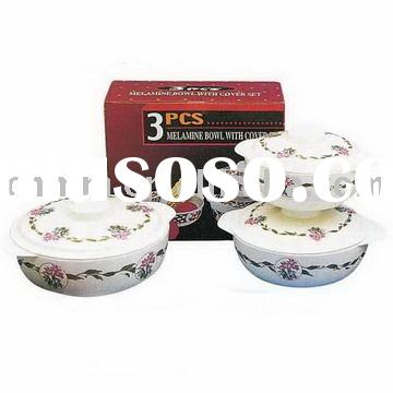 3pcs melamine handled bowl w/lid set,melamine bowl set,melamine bowl with lid,melamine bowl