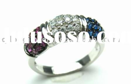 925 silver gold ring of fashion jewelry with zircons or diamond