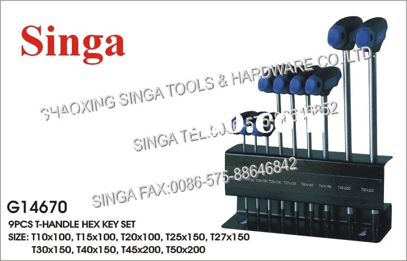 9PCS T-HANDLE HEX KEY SET (G14670)