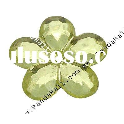 Acrylic Rhinestone Beads, Faceted, Flower, LightYellow, Size: about 11mm in diameter, 2mm thick, hol