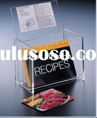 Clear Acrylic 4x6 Recipe Box with Display Lid