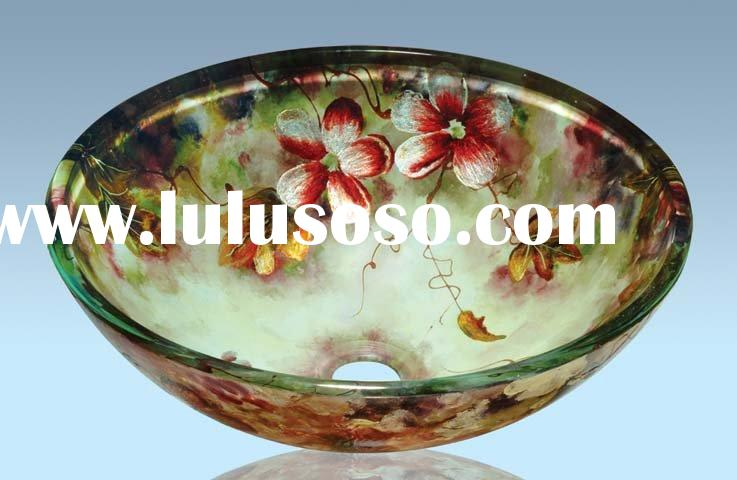 Colorful Bathroom Glass Vessel Sinks (New Design)
