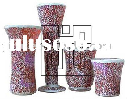 Colorful Crackle Glass Mosaic Candle Holders