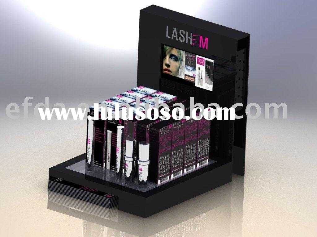 Custom-made in-store cosmetic acrylic display stands with LCD media player