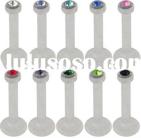 Diamond uv acrylic labret ring-lip piercing jewelry