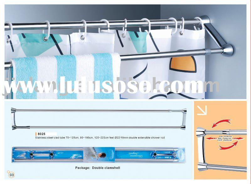 Double extensible shower curtain rod