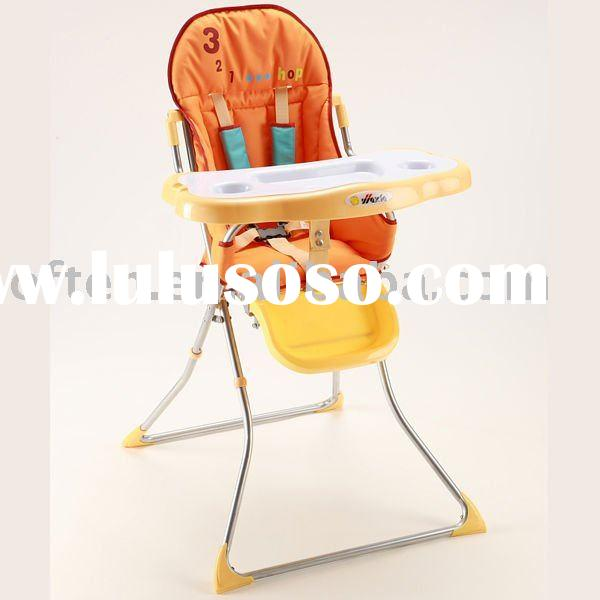 Double tray baby high chair with adjustable footrest