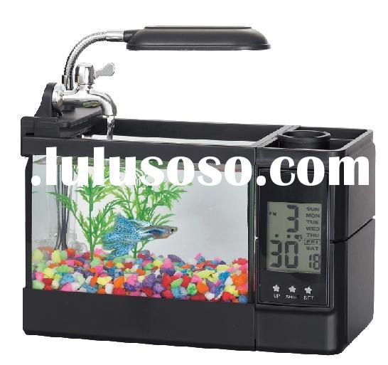 Dreamy Crystal mini aquarium with penholder and LED lamp blue ligthing