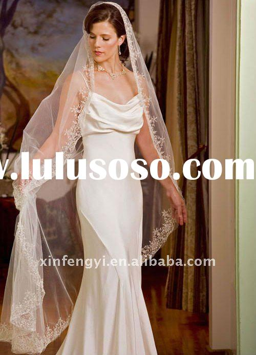 Full lace appliqued edge organza soft bridal wedding brides's mantilla lace trim veil