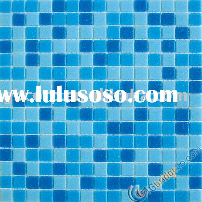 Glass mosaic wall and floor tile blue color blend MDA332