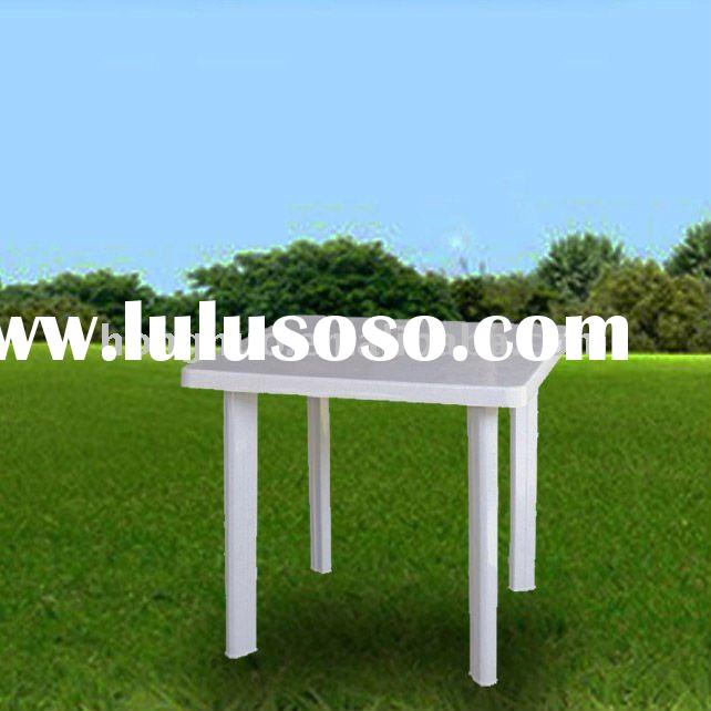 HNT319 White Plastic Outdoor Table and Chair with umbrella hole