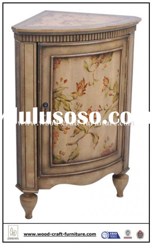 Hand Painted Wooden Craft Corner Cabinet W/1-Door