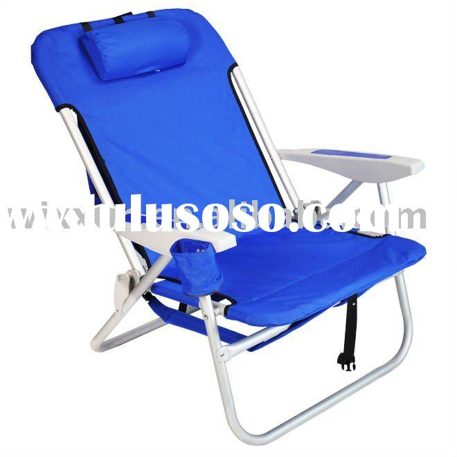 Heavy duty backpack beach folding chair with padded shoulder straps