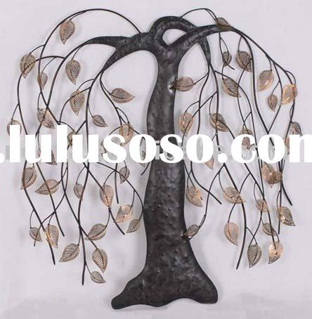 Iron trees and leaves wall art