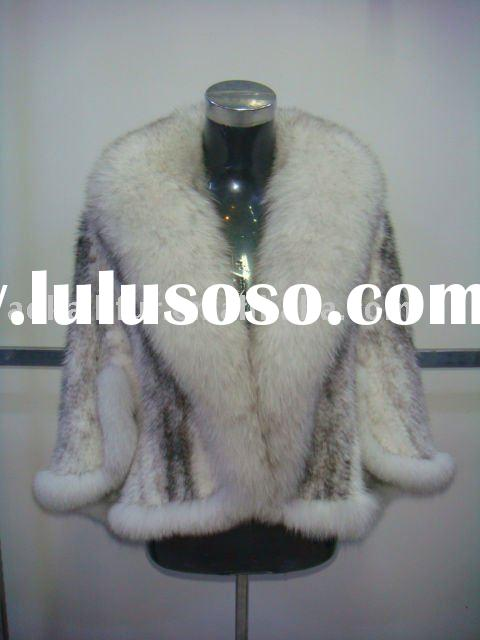 KNITTED MINK FUR JACKET FUR COAT WITH FOX COLLAR 616- A