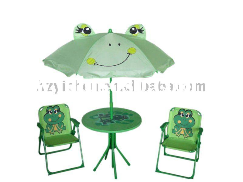 Kids' Folding Chair and Table with Frog Design and 4pcs Child Garden Set
