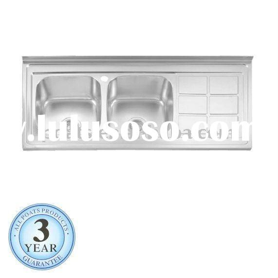 Lay on Stainless Steel Kitchen sink with back plash PS-557 SIZE:1200X600X190mm